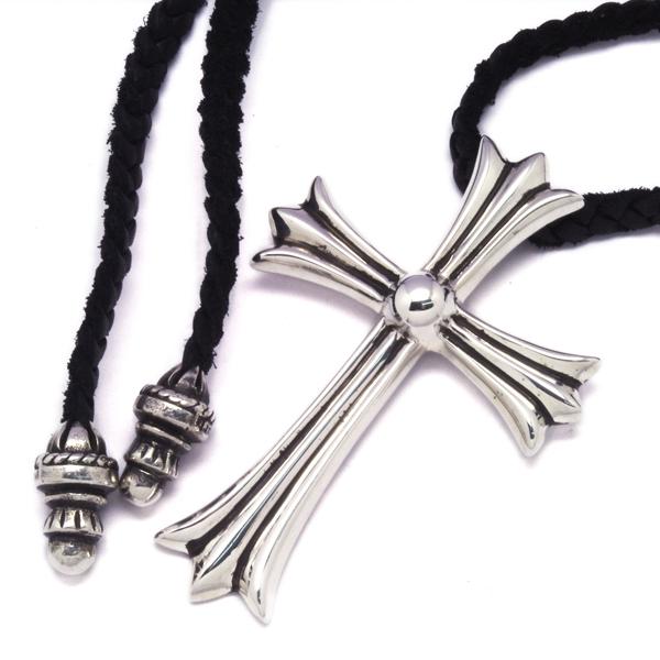 CHROME HEARTS(クロムハーツ) ラージCHクロスペンダントw/ブレイドレザー Large CH Cross Pendant w/Braid Leather