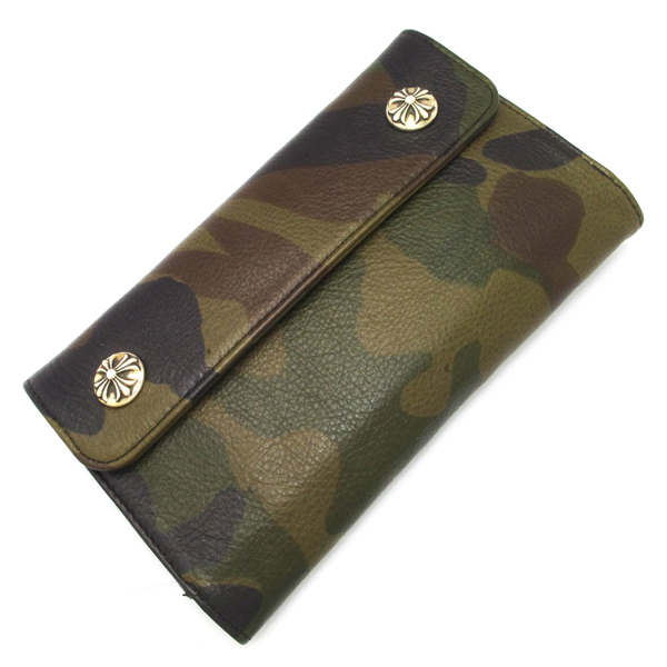 CHROME HEARTS(クロムハーツ) ウェーブ・クロスボタン・カモフラージュ ウォレット Wave Wallet Tank Camo Leather w/Cross Buttons