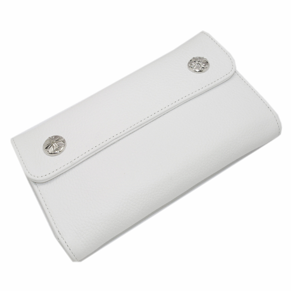 CHROME HEARTS(クロムハーツ) ウェーブ・クロスボタン・ホワイトウォレット Wave Wallet White Leather w/Cross Buttons