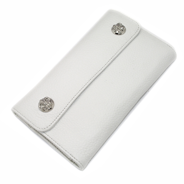 CHROME HEARTS(クロムハーツ) ウェーブ・フレアボタン・ホワイトウォレット Wave Wallet White Leather w/BS Fleur Buttons
