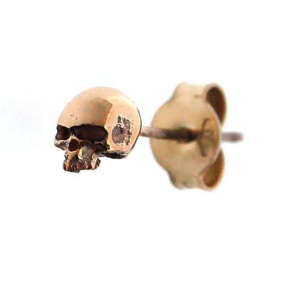 CRAZY PIG DESIGNS(クレイジーピッグ)  ミニスカルスタッドピアス 9Kイエローゴールド Mini skull K9