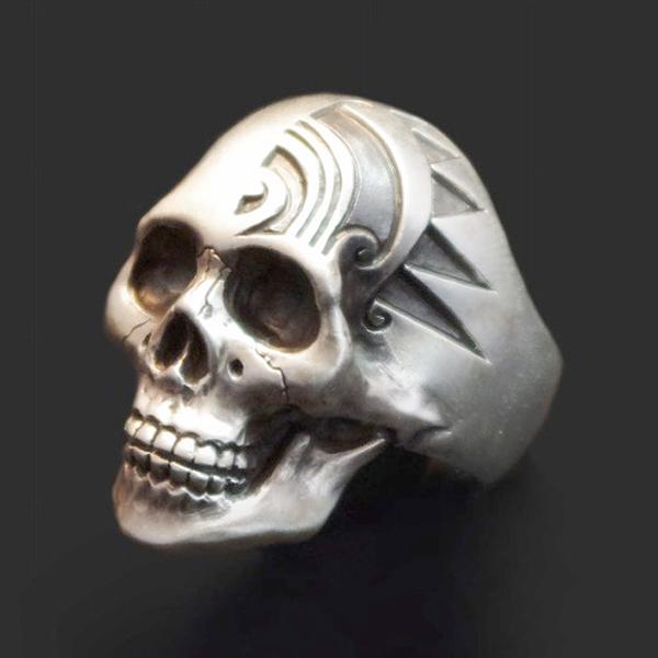 Dualflow(デュアルフロウ)engrave skull ring  【DFR-2】