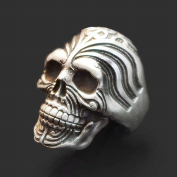 Dualflow(デュアルフロウ)maori warrior skull ring 【DFR-05】