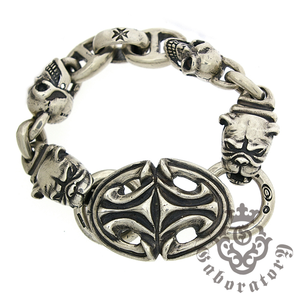 Gaboratory(ガボラトリー) Sculpted oval w/2skulls+h.w.o&anchor links, all smooth with 2bulldogs
