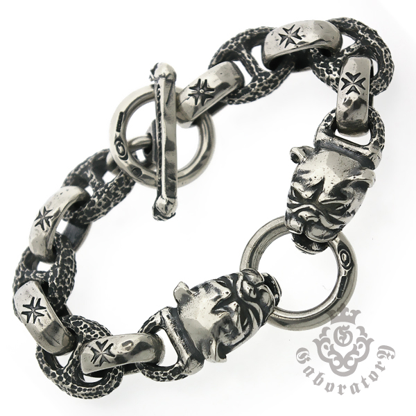 Gaboratory(ガボラトリー) 2bulldog heads w/h.w.o& chiseled anchor links bracelet / PG12