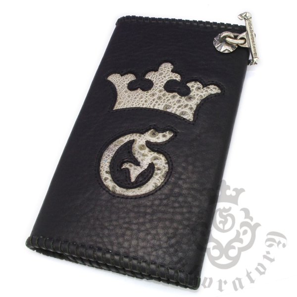 Gaboratory(ガボラトリー) Buffalo skin with grey frog wallet (G&Crown) / Frog002 バッファロースキンレザーウォレット