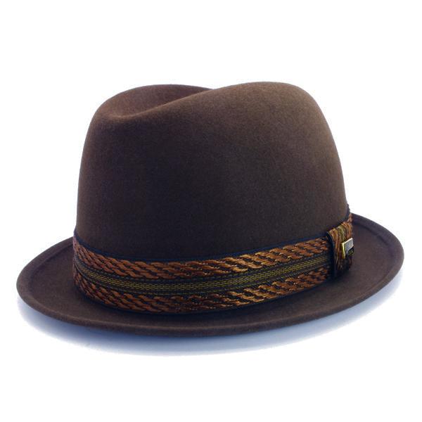 KNOX(ノックス) 【日本製最高品質帽子】コツバチロルハット ラビットファーフェルト100% KFNB378(ブラウン)