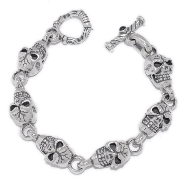TRAVIS WALKER(トラヴィスワーカー) Skull Bracelet (6 Skulls) BRS001