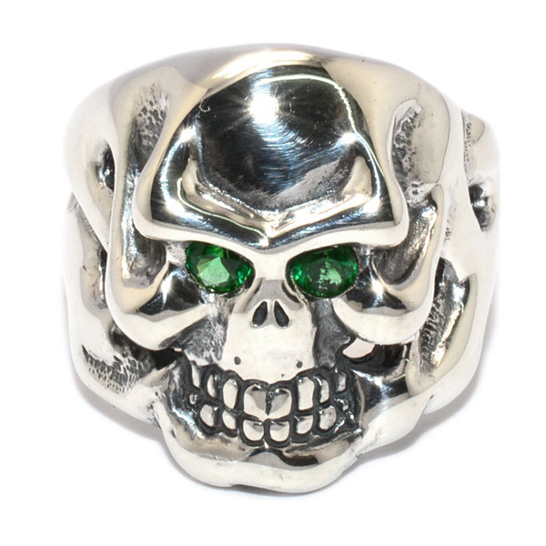 TRAVIS WALKER(トラヴィスワーカー) RGS136 CUSTOM SMALL OG SKULL RING STONE EYES ストーンアイズ GREEN