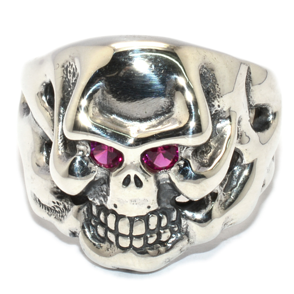 TRAVIS WALKER(トラヴィスワーカー) RGS136 CUSTOM SMALL OG SKULL RING STONE EYES ストーンアイズ PINK