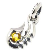 BWL(ビルウォールレザー) Fish Hook Charm w/Stone フィッシュフックチャーム/イエローCZ C335