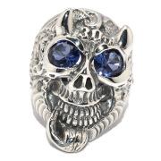 BWL(ビルウォールレザー)30th Master Skull Flying Tire Ring w/stone B419S