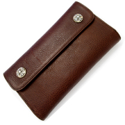 CHROME HEARTS(クロムハーツ) ウェーブ・クロスボタン・ダークブラウン Wave Wallet Dark Brown Medium Leather w/Cross Buttons