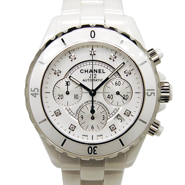 シャネル CHANEL J12 クロノグラフ ホワイトセラミック H2009 9Pダイヤ 自動巻 41mm 200m防水 新品