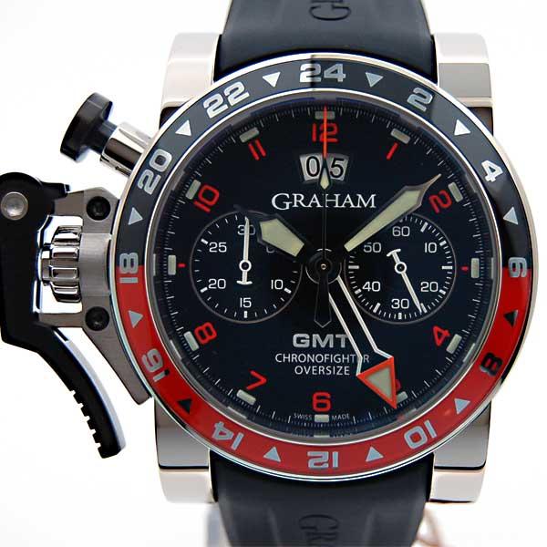 グラハム GRAHAM クロノファイター オーバーサイズ ビッグデイト GMT 2OVASGMT.B01A.K10B 黒文字盤 SS 47mm