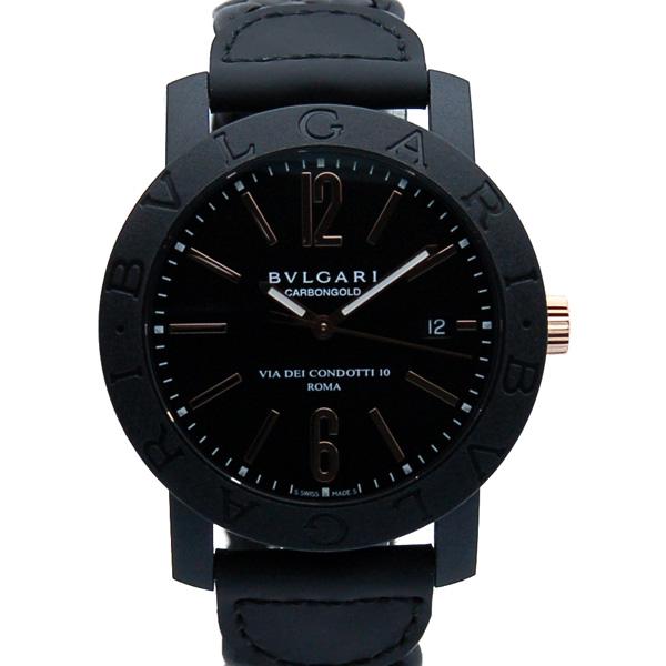 ブルガリ BVLGARI ブルガリブルガリ カーボンゴールド BBP40BCGLD/N メンズ 40mm ブラック 革ベルト 新品