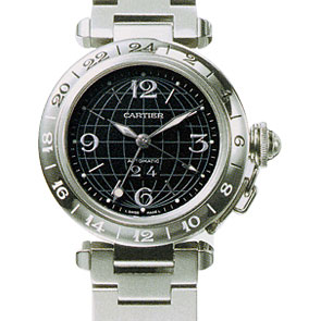カルティエ CARTIER パシャCメリディアン GMT W31049M7 ブラック 生産終了 ビッグデイト ボーイズ 35mm