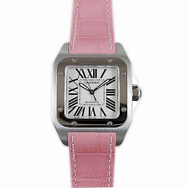 カルティエ CARTIER サントス100 MM W20126X8 SS 35mm 自動巻 ピンク革 新品