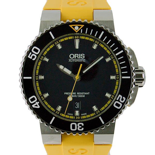 オリス ORIS アクイス デイト 733 7653 4127R SS 43mm ブラック イエローラバー 新品