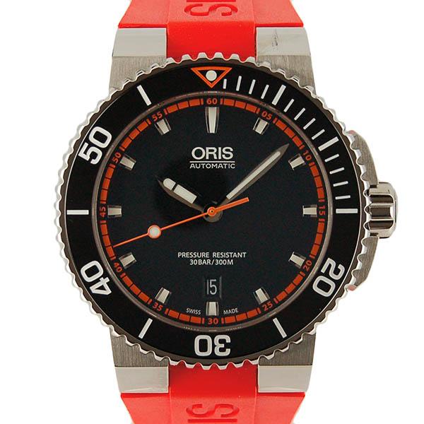 オリス ORIS アクイス デイト 733 7653 4128R SS 43mm ブラック オレンジラバー 新品
