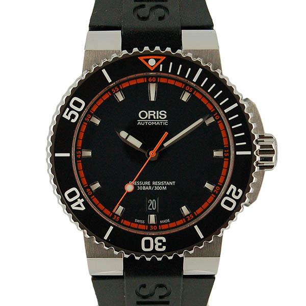 オリス ORIS アクイス デイト 733 7653 4128R SS 43mm ブラック ブラックラバー 新品