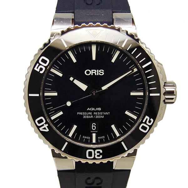オリス ORIS アクイス デイト 733 7730 4135R SS 43.5mm ブルー ラバーベルト 新品