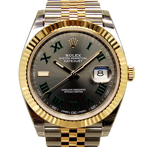 ロレックス ROLEX デイトジャスト41 126333 グレー/グリーンローマ SS×18KYG 新品
