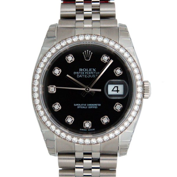 ロレックス ROLEX デイトジャスト Ref.116244G ダイヤモンド ブラック 新品