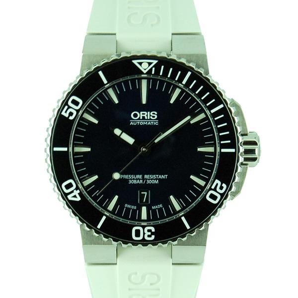 オリス ORIS アクイス デイト 733 7653 4135R SS 43mm ブルー ホワイトラバー 未使用品