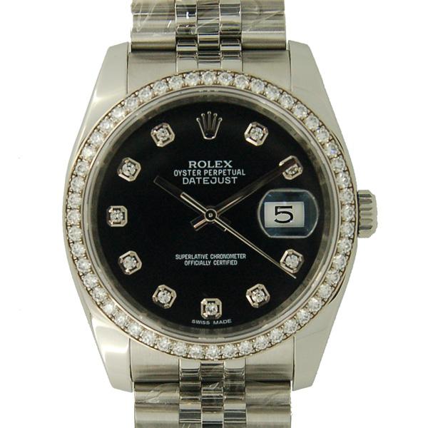 ロレックス ROLEX デイトジャスト Ref.116244G ダイヤモンド ブラック ランダム番 USED 中古