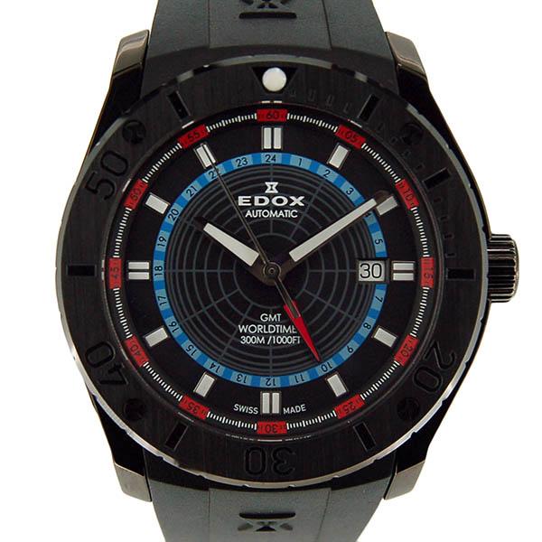 エドックス EDOX クラスワン GMT ワールドタイマー 93005-37N-NOBU 43mm ブラック ラバー USED 中古