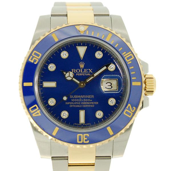 ロレックス ROLEX サブマリーナデイト コンビ Ref.116613GLB ブルー SS×YG 8Pダイヤ V番ルーレット USED 中古