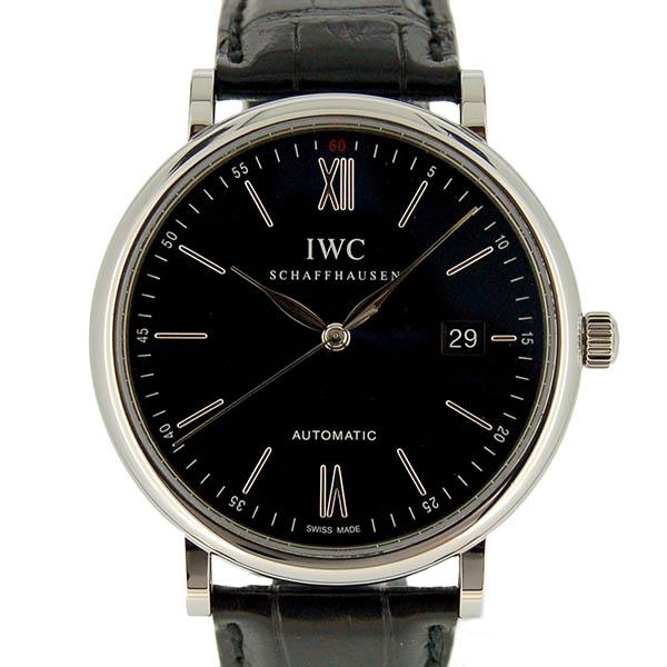 IWC インターナショナルウォッチカンパニー ポートフィノ IW356502 SS 40mm ブラック 革ベルト USED 中古