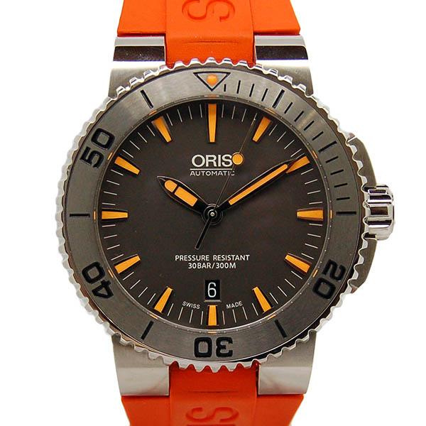 オリス ORIS アクイス デイト 733 7653 4158 RO グレー オレンジラバー USED 中古