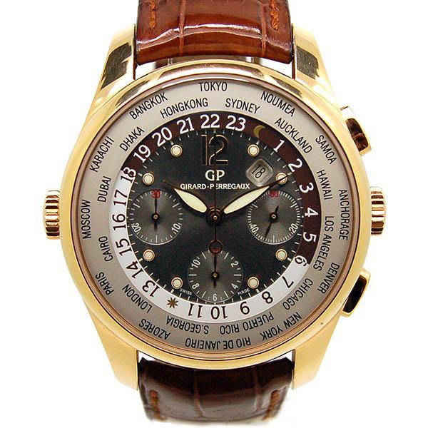 ジラール・ペルゴ GIRARD PERREGAUX WW.TC フィナンシャル クロノグラフ 49805-52-251-0 18KPG グレー 革ベルト USED  中古