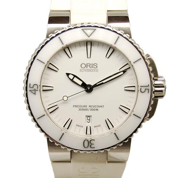 オリス ORIS アクイス デイト 733 7653 4156R SS ホワイト ラバー USED 中古