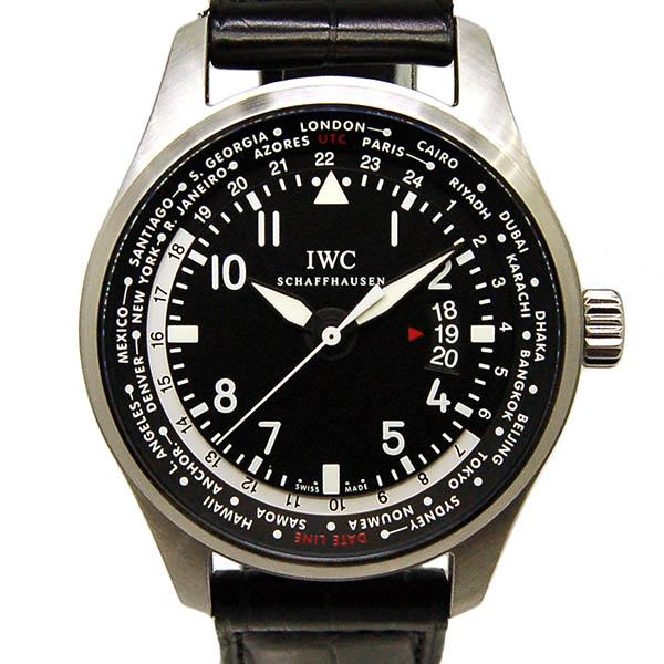 IWC パイロットウォッチ ワールドタイマー IW326201 SS ブラック 自動巻 革 USED 中古