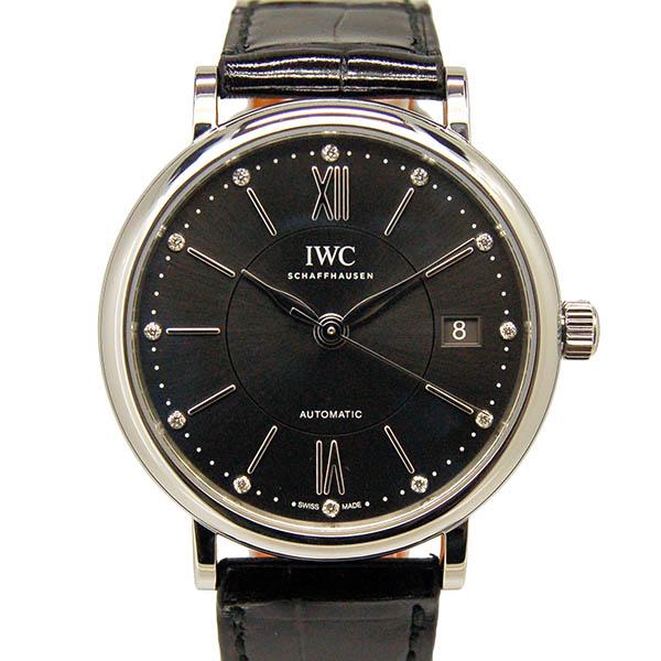 IWC インターナショナルウォッチカンパニー ポートフィノ ミッドサイズ IW458102 SS 12Pダイヤ 37mm グレー 革ベルト USED 中古