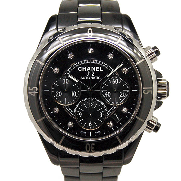 シャネル CHANEL J12 クロノグラフ ブラックセラミック H2419 9Pダイヤ 自動巻 41mm 200m防水 USED 中古