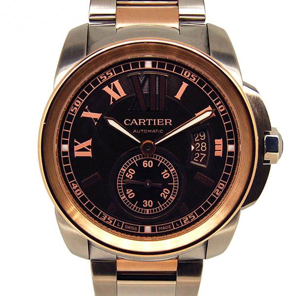 カルティエ CARTIER カリブル ドゥ カルティエ W7100050 SS×PG メンズ 自動巻 ブラウン 42mm USED 中古