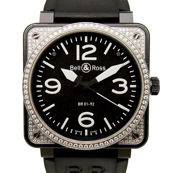 ベル&ロス BELL&ROSS BR01-92 トップダイヤモンド SS 自動巻 ブラック ラバー USED 中古