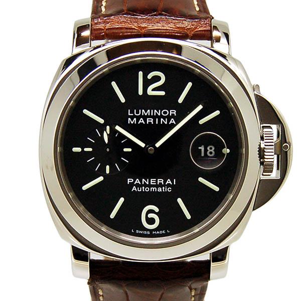 パネライ PANERAI ルミノールマリーナ 44mm PAM00104 自動巻 SS ブラック 革ベルト E番 USED 中古