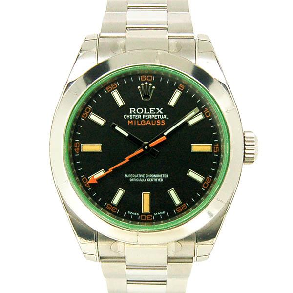 ロレックス ROLEX ミルガウス 116400GV グリーンガラス ブラック V番ルーレット 未使用品