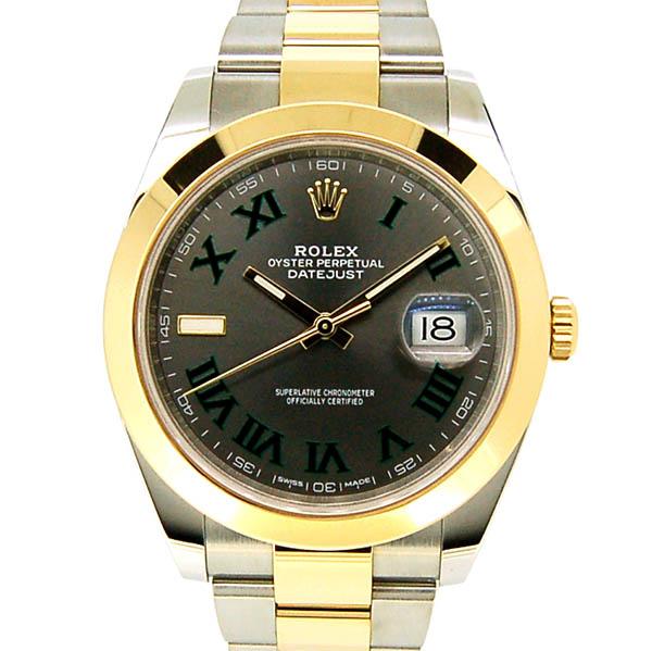 ロレックス ROLEX デイトジャスト41 126303 メンズ グレー/グリーンローマ 18KYG/SS 国内正規品 未使用品