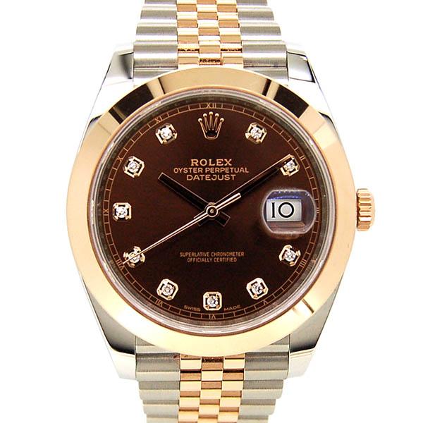 ロレックス ROLEX デイトジャスト41 126301G メンズ ブラウン 10Pダイヤ 国内正規品 未使用品
