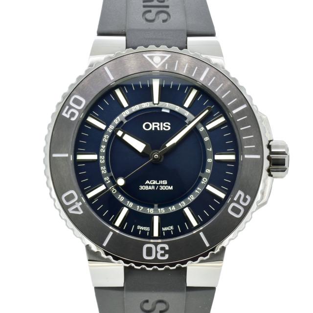 オリス ORIS アクイス ソース オブ ライフ 733 7730 4125R 世界2343本限定 SS 43.5mm ブルー USED 中古