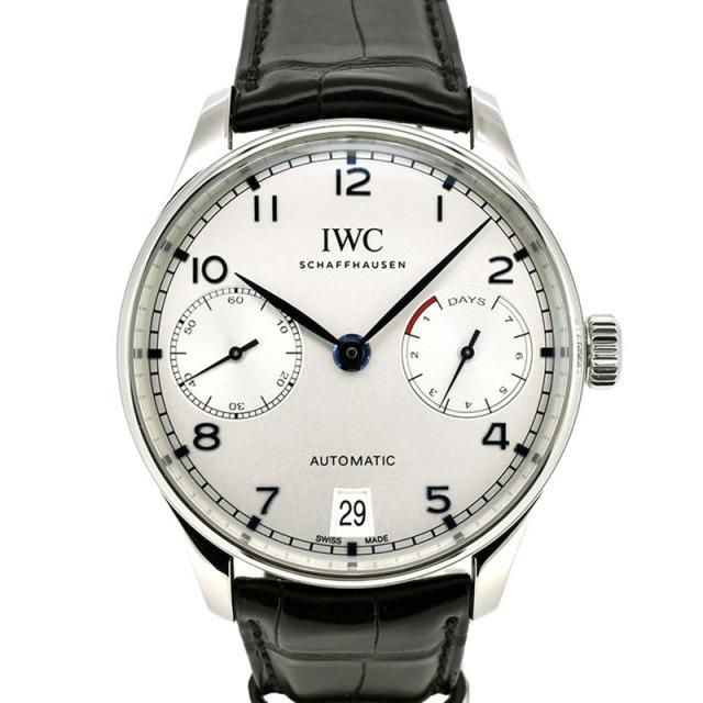 IWC ポルトギーゼ オートマティック 7デイズ IW500705 シルバー 青針 SS 革ベルト USED 中古