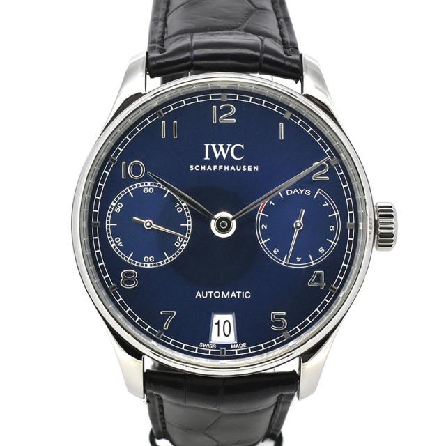 IWC ポルトギーゼ 7デイズ IW500710 ブルー 革ベルト 42.3mm USED 中古