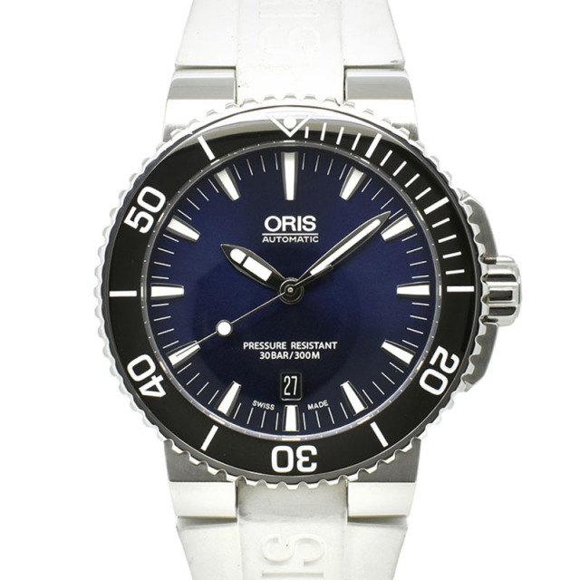 オリス ORIS アクイス デイト 733 7653 4135R SS 43mm ブルー ラバー USED 中古
