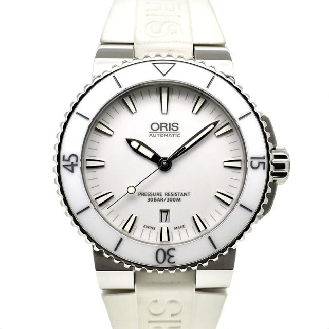 オリス ORIS アクイス デイト 733 7653 4156R SS ホワイト ラバー 43mm USED 中古